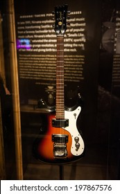SEATTLE - MAY 8: Kurt Kobain's Mosrite Gospel guitar on display at the exhibit: Nirvana: Taking Punk to the Masses at the EMP Museum on May 8, 2014 in Seattle.
