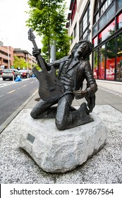 SEATTLE - MAY 9: A bronze statue of Jimi Hendrix stands in the Capitol Hill neighborhood on May 9, 2014 in Seattle.