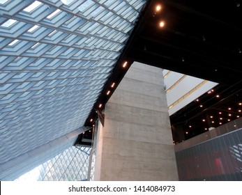 Seattle on June 25, 2016:   Inside the Public Library. The Seattle Central Library opened in 2004 and was designed by Rem Koolhaas and Joshua Prince-Ramus.