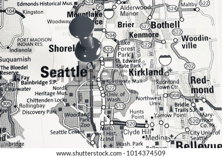 Seattle On Map Usa Stock Photo Edit Now 1014374509 Shutterstock