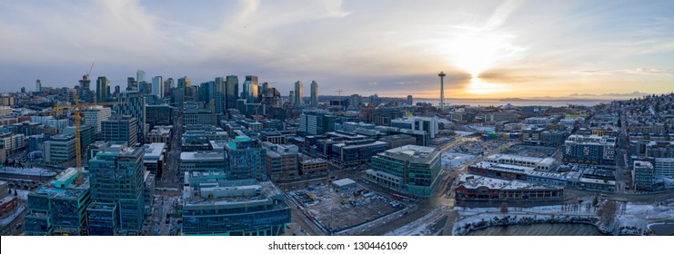 Seattle Panoramic Snow Winter Weather Sunset Skyline Architecture Buildings