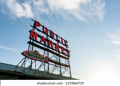 Seattle Pike Place Market neon sign during daytime