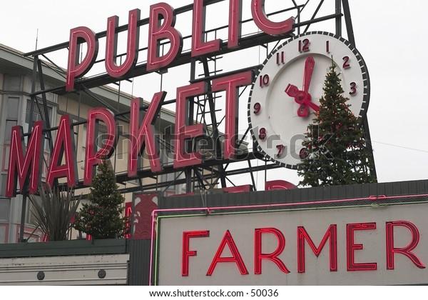 Seattle Pike Place Public Market Sign