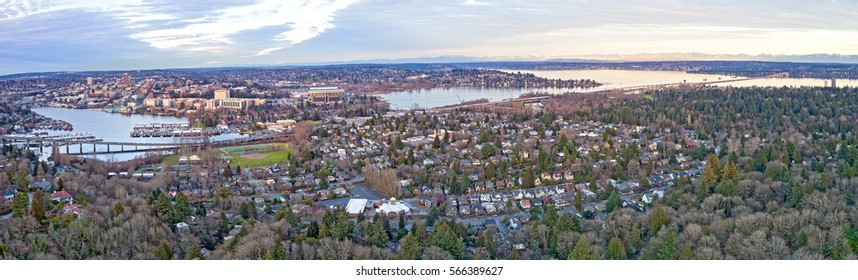 Seattle Portage Bay Lake Washington Montlake Neighborhood University Bellevue 520 Bridge Panoramic Aerial View