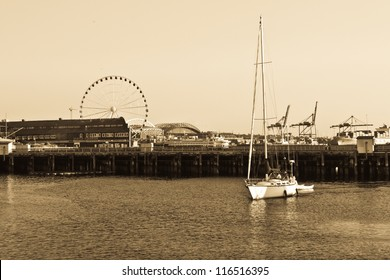 Seattle Seaport, Alaskan way, Seattle, Washington, USA