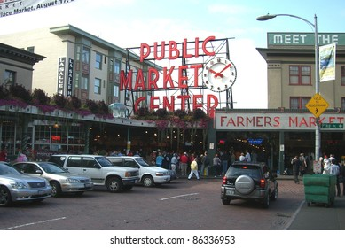 SEATTLE - SEPTEMBER 15: Entrance to the Pike Place Market on September 15, 2007 in Seattle, Washington. The market opened in 1907 and is still a major tourist attraction on the Seattle waterfront.