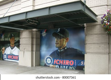 SEATTLE - SEPTEMBER 15: Poster of Ichiro Suzuki at Safeco Field, home of the Mariners on September 15, 2007 in Seattle, Washington. Ichiro holds the single season baseball record for hits with 262.