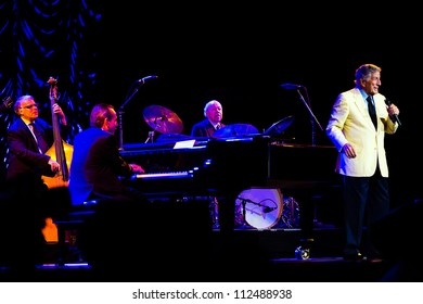 SEATTLE - SEPTEMBER 2, 2012:  Singer Tony Bennett performs on the main stage at Key Arena in Seattle during the Bumbershoot music festival on September 2, 2012.