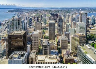 Seattle Skyline. Aerial view of downtown Seattle district from the Sky View Observatory Tower, Washington state, USA.