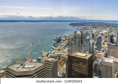 Seattle Skyline. Aerial view of Seattle waterfront and downtown district from the Sky View Obervatory Tower, Washington state, USA