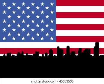 Seattle skyline and American flag illustration JPEG