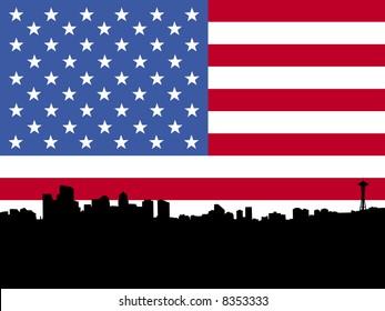 Seattle skyline with American flag illustration JPG