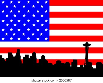 Seattle skyline and American Flag stars and stripes illustration JPG