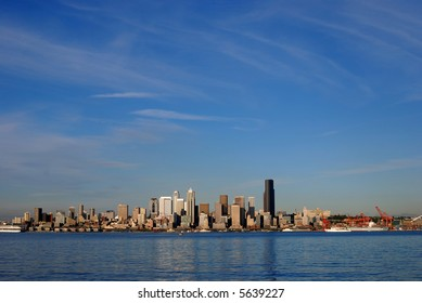 Seattle Skyline and beautiful blue sky accorss the water