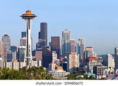 Seattle skyline buildings architecture WA state.