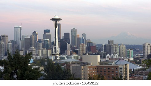 The Seattle Skyline Buildings Space Needle from Washington's Queen Anne Hill