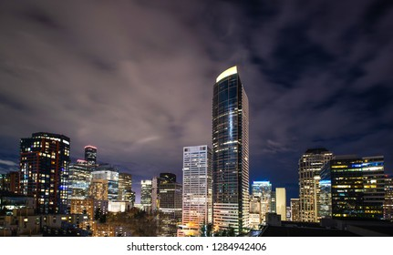 The Seattle Skyline downtown at night with Columbia tower
