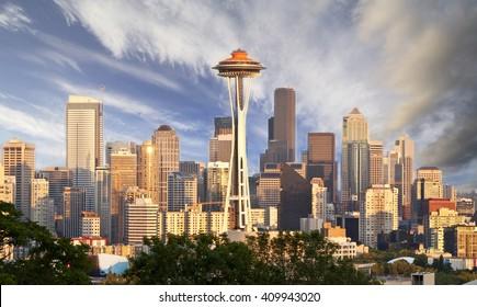 Seattle Skyline During Sunset