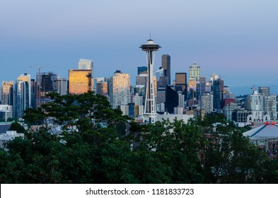 Seattle skyline in the evening of 4th August 2018 in Seattle, Washington, USA 2018