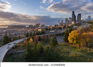 The Seattle Skyline and Freeway from Rizal Bridge