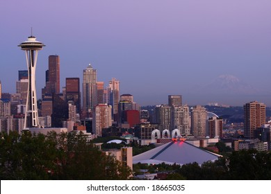 Seattle Skyline and Mount Rainier at Sunset from Kerry Park