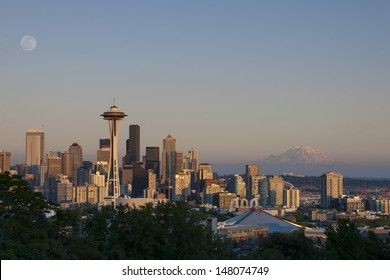 Seattle Skyline with Mt Rainier and Full Moon rise