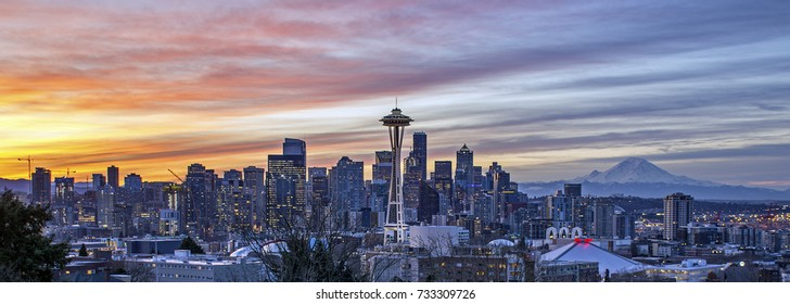 Seattle skyline and Mt. Rainier (Washington State) as seen from Kerry Park at sunrise.