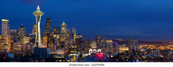 Seattle skyline panorama at dusk, WA, USA