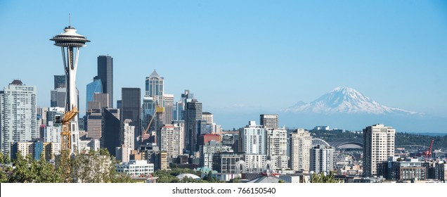 Seattle skyline panorama with Mt. Rainier in background late summer afternoon from Kerry Park, Seattle, WA