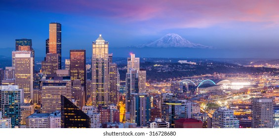 Seattle skyline panorama at sunset as seen from Space Needle Tower, Seattle USA