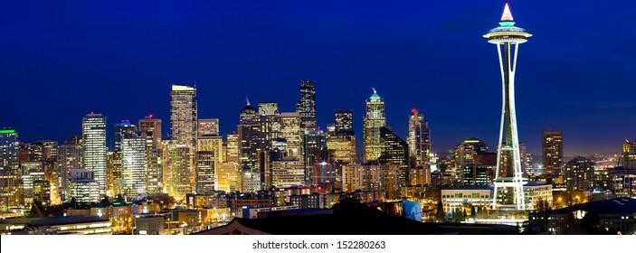 Seattle skyline panorama at twilight, WA, USA