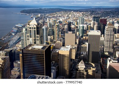 Seattle skyline seen from the Columbia Center, Seattle, Washington.