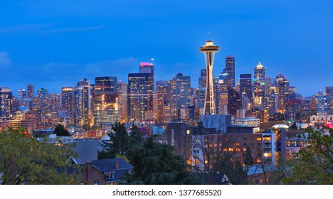 Seattle Skyline Showing the downtown of Seattle After Sunset viewing from Kerry Park, Seattle Washington USA