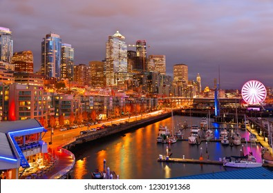 Seattle Skyline Showing the waterfront of Seattle After Sunset. The Central Waterfront of Seattle, is the most urbanized portion of  Elliott Bay shore.