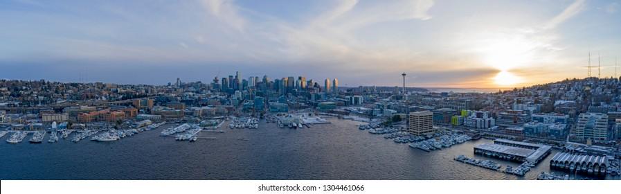 Seattle Skyline Snowy Winter Sunset Panoramic View of City Lake Union Waterfront