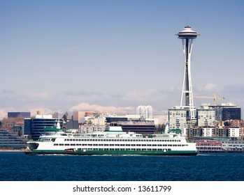 Seattle Skyline, Space Needle and Ferry
