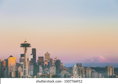 Seattle Skyline with space needle, Mountain Rainier, and colorful sunset taken from Kerry Park