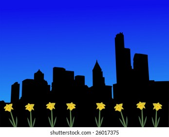 Seattle skyline in spring with daffodils illustration JPEG