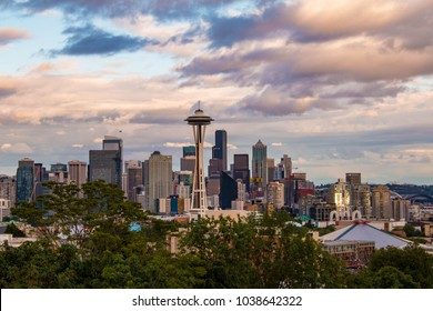 Seattle skyline at sunset seen from Kerry Park