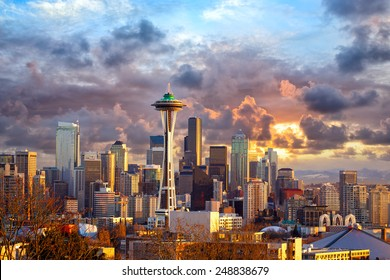 Seattle skyline at sunset, WA, USA