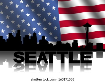 Seattle skyline and text reflected with rippled American flag illustration