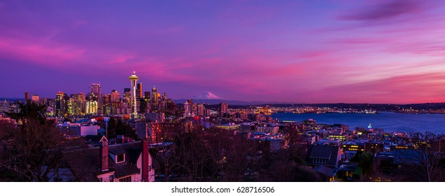 Seattle skyline view colorful sunset