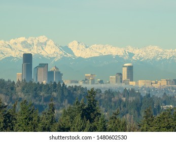 Seattle skyline view on sunny winter morning.