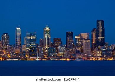 Seattle Skyline, Washington as seen from Alki Beach