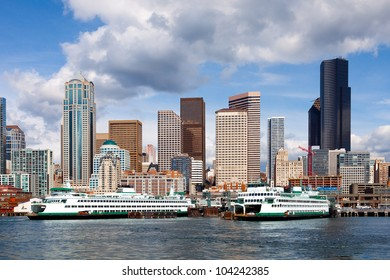 Seattle skyline, waterfront and car ferries. Clear, detailed view from the water
