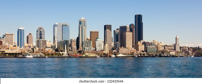 Seattle skyline and waterfront view, Washington state