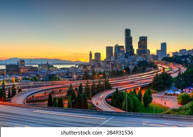 Seattle skylines and highway traffic in the sunset. The view from Rizal Park in Seattle, Washington, US