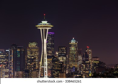 Seattle skylines at night, the view from Kerry Park in Queen Anne Hill, Seattle, Washington State, USA.
