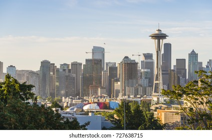 Seattle skylinre on the evening,Washington,usa