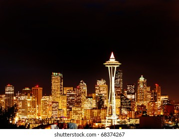 Seattle Space Needle in Golden Glow at Night